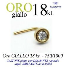 Piercing naso nose CASTONE piatto ORO GIALLO 18kt. DIAMANTE kt.0,030 yellow gold
