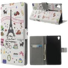 Schutz Tasche Hülle Flip Cover f Sony Xperia Z3 D6603 EIFFELTURM PARIS BUNT 61H