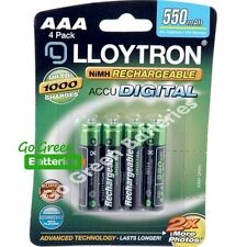 4 x Lloytron AAA 550 mAh Rechargeable Batteries Solar Light Dect Phone HR03 LR03