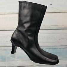 Kenneth Cole Reaction Tip Over Womens Black Zip Square Toe Mid Calf Boots Size 8