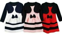 Girls Kids Long Sleeve Bolero Bow Skater Party Casual Dresses Age 2 to 14 Years