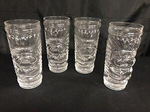 """NEW 4 Set Georgi Radev Real Ing. Cocktail 3D Tiki Glass 6.5"""" Clear Tumbler"""