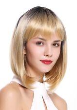 wig ME UP Peluca de mujer bob longbob PONY Ombre Negro Rubia resalta