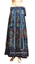 Indian Wrap Around Women Hippie Gypsy Floral Print Cotton Long Skirt RAPRON blu
