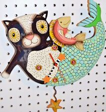 Whimsical Michelle Allen Designs MERMAID CAT Clock ships PRIORITY MAIL in 24 hrs