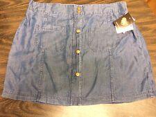 NWT HeartSoul Juniors Vintage Blue Tencel Mini Skirt Elastic Waistband Size XL