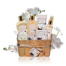 Lush Spa Baskets gift Set in French Vanilla, 8-Pcs Premium Spa Sets for holiday