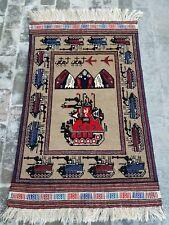 War Rug Handmade Afghan War art Rug Shindand war rug camel colour 145x90 cm