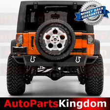"07-17 Jeep JK Wrangler Rock Crawler Rocker Guard HD Rear Bumper+2""Hitch+2 D-Ring"