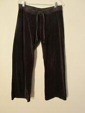 S7153 Juicy Couture Large Brown Velour Gem Embellished Rose Logo Track Pants