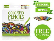 Crayola Colored Pencils Long-Lasting Pre-Sharpened 50 Count Rich Vibrant Colors