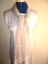 100% silk floaty chiffon scarf.  Pale greenish grey.   NEW