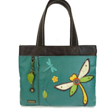 NEW CHALA TURQUOISE BLUE DRAGONFLY BIG TOTE PURSE HANDBAG FAUX LEATHER SHOPPER