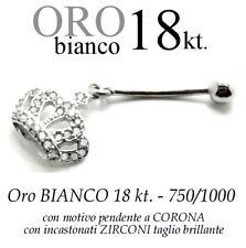Piercing ombelico belly ORO BIANCO 18kt. con CORONA ZIRCONI taglio BRILLANTE