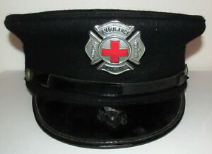 Larchmont NY Fire Department Ambulance Driver Hat w Enamel Red Cross Badge