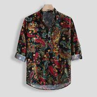 Men Casual Printing Vintage Slim Casual Long Sleeve Dress Shirt Blouse Tops AQ