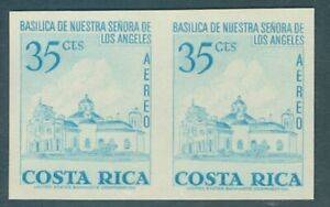 Costa Rica 1967, 35c cathedral, IMPERF PAIR, American Bank Note Co. NH #C457