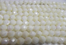 Bleached Mother Of Pearl. Round Faceted 8mm. Approx. 16 Inch Strand