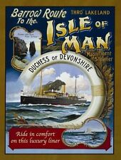 Isle of Man, Steam Ocean Liner, Ship, Boat, Sea, Small Metal/Tin Sign, Picture