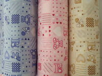 Baby Nursery Teddy Heart Ball Star Dot Check Pink Blue Cream PolyCotton Fabric