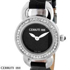 CERRUTI LADIES FIORE SWISS QUARTZ WATCH NEW BLK LEATHER CT69042X103012