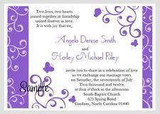 100 Personalized Custom Purple Swirl Butterfly Bridal Wedding Invitations Set