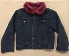Youth Girls Jean Jacket Insulated Lined Faux Fur Collar Size L Pink/Purple Euc
