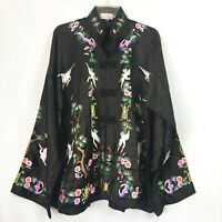 Vintage XL Chinese Embroidered Black Silk Jacket Colorful Birds Trees Flowers