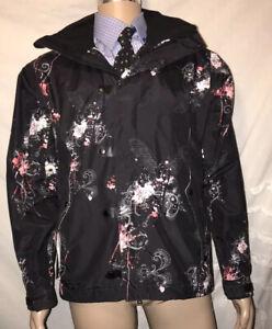 NICE! Bonfire Men's Black/White/Pink Paisley Snowboard Ski Hooded Jacket sz M