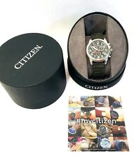 New Citizen Eco-Drive Chronograph Black Dial, Canvas Strap Mens Watch AT0200-05E