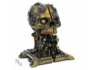 CRANIAL STEAM BOOK ENDS 18.5cm Nemesis Now Steampunk Skull Storage BNIB FREE P+P