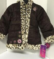 Girls Coat Brown Animal Print Youth Size 5 Pistachio Jacket Fur $70VAL Winter