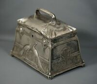 1890 Kayser Pewter Zinn Hugo Leven Art Nouveau Casket Jewelry Box Babylon Garden