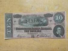 1864 Confederate States Csa $10 Ten Dollar Bill Civil War Note Unc Bcs 808