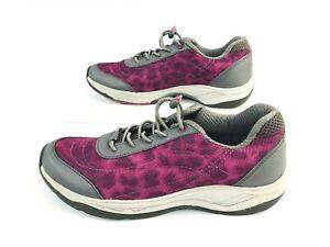 Vionic Neptune Purple Leopard Bungee Walking Shoes Sneakers Womens 5 M EUC