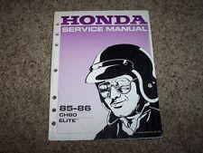 1985 Honda 1986 Ch80 Ch 80 Elite Scooter Moped Service Repair Shop Manual