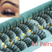 SKONHED 10 Pairs 3D Faux Mink Hair False Eyelashes Thick Long Dramatic Lashes