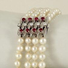 Gefädelte Armbänder mit echten Perlen aus Weißgold