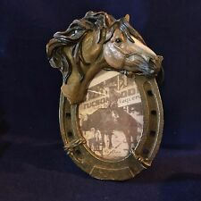 """Horseshoe Picture Frame with Horse Head 9 X 5 1/2"""" for 4 X 6"""""""