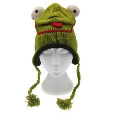 Fun Frog Handmade Winter Woollen Animal Hat Fleece Lining One Size, UNISEX