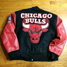VTG 90s Chicago Bulls NBA Letterman Wool Leather Jacket J.H. Design LARGE USA