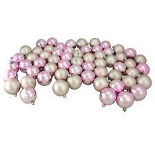 "60ct Blush Pink Shiny/Matte Shatterproof Christmas Ball Ornaments 2.5"" (60mm)"