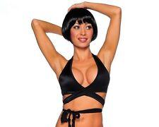 BZ-1628 Sexy Stripper Gogo Dancer Raver Rave Wear Black Salvage Tie Wrap Top