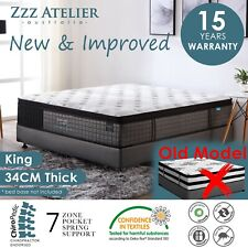 KING Mattress *7 Zone Pocket Spring Mattress Latex Foam EuroTop *Chiro Endorsed