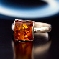 Bernstein Silber 925 Ring Sterlingsilber Damen-Schmuck verschiedene Groessen R22