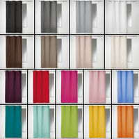 Plain 100% Cotton Panama Single Curtain Panel with Eyelets - Long Drops