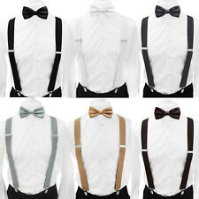 Axy Men's Braces With Bow Tie Set -X Form 1 3/8in Wide - 4 Clips Uni Colors