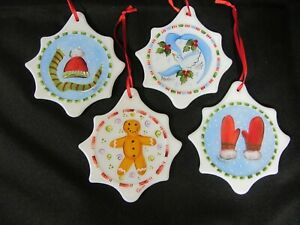 Lot (4) Mosser Milk Glass Hand Painted Christmas Tree Ornaments Hat Mittens Dove