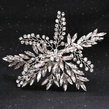 Wedding Bridal Transparent Crystal Leaf Hairpin Hair Clips Comb Hair Accessories