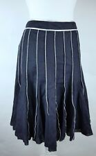 Principles Navy Linen Blend Floaty Rockabilly Fit & Flare Skirt UK 10 Summer (G)